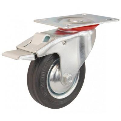 Колесо А 125 (002-001-125) с кронштейном поворотным металл/резина с тормозом