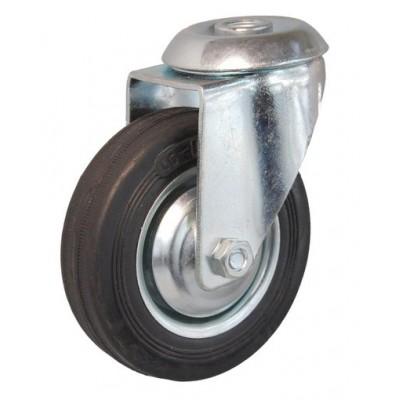 Колесо А 160 (006-001-160) с кронштейном поворотным металл/резина с отверстием 16,5