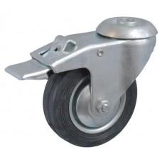 Колесо А 160 (007-001-160) с кронштейном поворотным металл/резина с отверстием 16,5 с тормозом