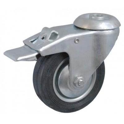 Колесо А 75 (007-001-075) с кронштейном поворотным металл/резина с отверстием 10,5 с тормозом