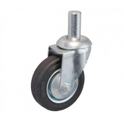 Колесо А 75 (010-001-075) с кронштейном поворотным металл/резина с осью fi.20