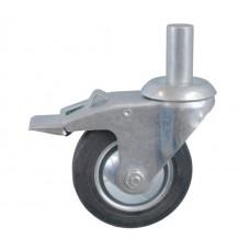 Колесо А 100 (011-001-100) с кронштейном поворотным металл/резина с осью fi.22 с тормозом