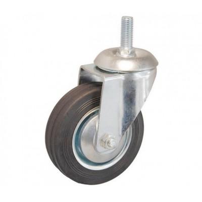 Колесо А 125 (014-001-125) металл/резина с кронштейном поворотным болт М12