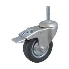 Колесо А 160 (015-001-160) металл/резина с кронштейном поворотным болт М16 с тормозом