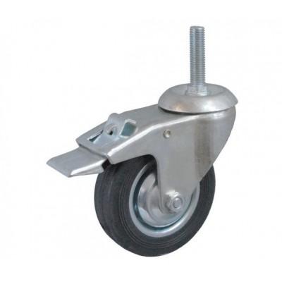 Колесо А 100 (015-001-100) металл/резина с кронштейном поворотным болт М12 с тормозом