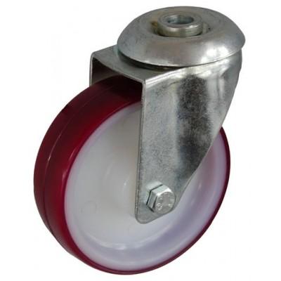 Колесо А 100 (006-026-100) с кронштейном поворотным полиамид/полиуретан с роликовым подшипником с отверстием 12,5