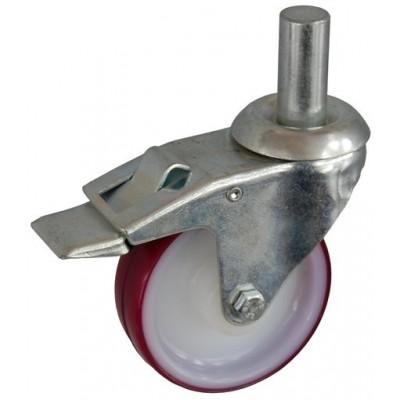 Колесо А 100 (011-024-100) с кронштейном поворотным полиамид/полиуретан с втулкой с осью fi.22 с тормозом