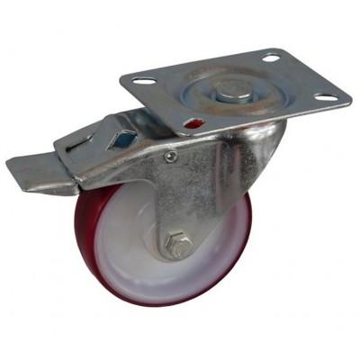 Колесо А 100 (002-024-100) с кронштейном поворотным полиамид/полиуретан с втулкой с тормозом