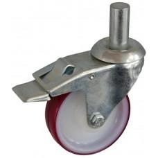Колесо А 100 (011-026-100) с кронштейном поворотным полиамид/полиуретан с роликовым подшинником с осью fi.22 с тормозом
