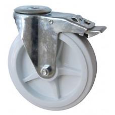 Колесо А 150 (007-040-150) с кронштейном поворотным полипропилен с отверстием 16,5 с тормозом