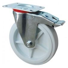 Колесо А 200 (002-040-200) с кронштейном поворотным полипропилен с тормозом