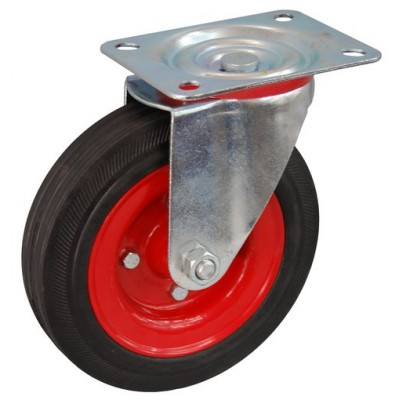 Колесо А 160 (001-009-160) с кронштейном поворотным металл/резина сборный диск