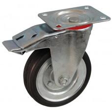 Колесо А 160 (002-009-160) с кронштейном поворотным металл/резина сборный диск с тормозом