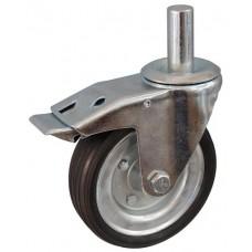 Колесо А 160 (011-009-160) с кронштейном поворотным металл/резина сборный диск с осью fi.27 с тормозом