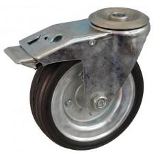 Колесо А 160 (007-009-160) с кронштейном поворотным металл/резина сборный диск с отверстием 16,5 с тормозом