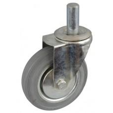 Колесо А 75 (010-002-075) с кронштейном поворотным металл/резина серая с осью fi.20