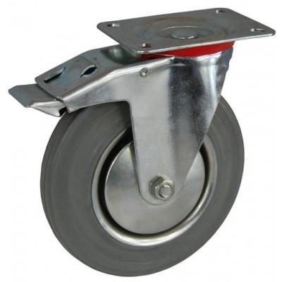 Колесо А 100 (002-002-100) с кронштейном поворотным металл/резина серая с тормозом
