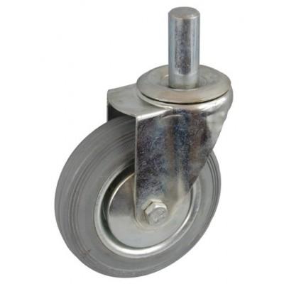 Колесо А 100 (010-002-100) с кронштейном поворотным металл/резина серая с осью fi.22