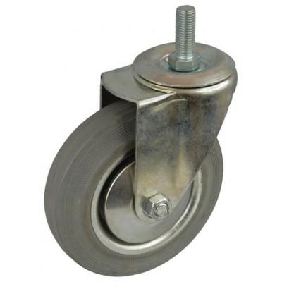 Колесо А 100 (014-002-100) с кронштейном поворотным металл/резина серая болт М12