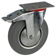 Колесо А 125 (002-002-125) с кронштейном поворотным металл/резина серая с тормозом