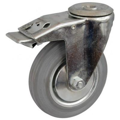 Колесо А 100 (007-002-100) с кронштейном поворотным металл/резина серая с отверстием 12,5 с тормозом