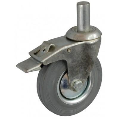 Колесо А 100 (011-002-100) с кронштейном поворотным металл/резина серая с осью fi.22 с тормозом
