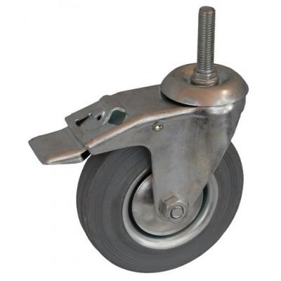 Колесо А 100 (015-002-100) с кронштейном поворотным металл/резина серая болт М12 с тормозом