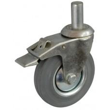 Колесо А 160 (011-002-160) с кронштейном поворотным металл/резина серая с осью fi.27 с тормозом