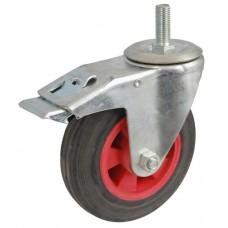 Колесо А 75 (015-003-075) с кронштейном поворотным пластик/резина болт М12 с тормозом