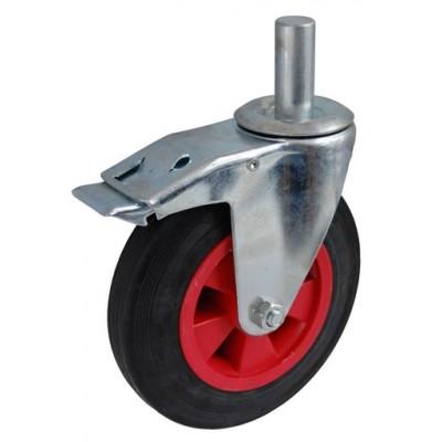 Колесо А 100 (011-003-100) с кронштейном поворотным пластик/резина с осью fi.22 с тормозом