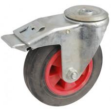 Колесо А 125 (007-003-125) с кронштейном поворотным пластик/резина с отверстием 12,5 с тормозом
