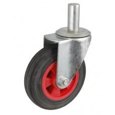 Колесо А 75 (010-003-075) с кронштейном поворотным пластик/резина с осью fi.20
