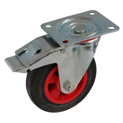 Колесо А 100 (002-003-100) с кронштейном поворотным пластик/резина с тормозом