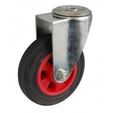 Колесо А 100 (006-003-100) с кронштейном поворотным пластик/резина с отверстием 12,5