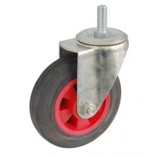 Колесо А 100 (014-003-100) с кронштейном поворотным пластик/резина серая болт М12