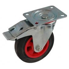 Колесо А 125 (002-003-125) с кронштейном поворотным пластик/резина с тормозом