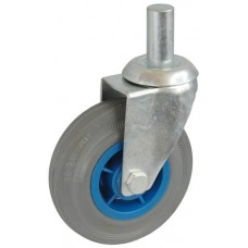 Колесо А 75 (010-004-075) с кронштейном поворотным пластик/резина серая с осью fi.20