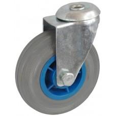 Колесо А 100 (006-004-100) с кронштейном поворотным пластик/резина серая с отверстием 12,5
