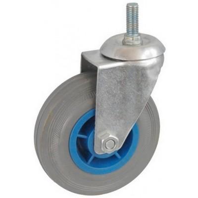 Колесо А 100 (014-004-100) с кронштейном поворотным пластик/резина серая болт М12