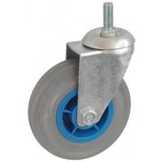 Колесо А 125 (014-004-125) с кронштейном поворотным пластик/резина серая болт М12