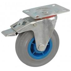 Колесо А 200 (002-004-200) с кронштейном поворотным пластик/резина серая с тормозом