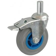 Колесо А 75 (011-004-075) с кронштейном поворотным пластик/резина серая с осью fi.20 с тормозом