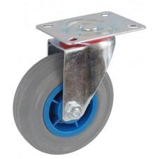 Колесо А 125 (001-004-125) с кронштейном поворотным пластик/резина серая