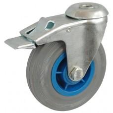 Колесо А 125 (007-004-125) с кронштейном поворотным пластик/резина серая с отверстием 12,5 с тормозом