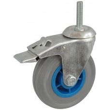 Колесо А 125 (015-004-125) с кронштейном поворотным пластик/резина серая болт М12 с тормозом