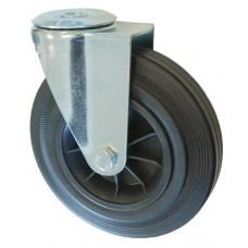 Колесо А 200 (006-005-200) с кронштейном поворотным пластик/резина с отверстием 16,5