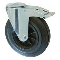 Колесо А 200 (007-005-200) с кронштейном поворотным пластик/резина с отверстием 16,5 с тормозом