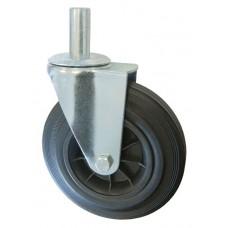 Колесо А 200 (010-005-200) с кронштейном поворотным пластик/резина с осью fi.27