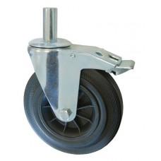 Колесо А 200 (011-005-200) с кронштейном поворотным пластик/резина с осью fi.27 с тормозом
