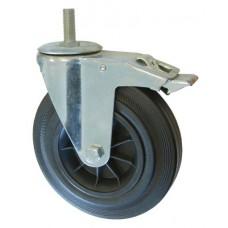 Колесо А 200 (015-005-200) с кронштейном поворотным пластик/резина болт М16 с тормозом